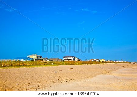 beautiful wooden houses at the empty beach in the Outer banks in America