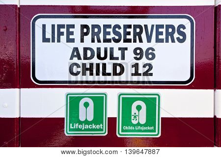 Sign For Life Preservers On A Ferry