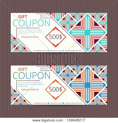 Gift voucher with elegant retro design. Gift card template. Coupon discount set. Voucher vector design. Coupon vector template.