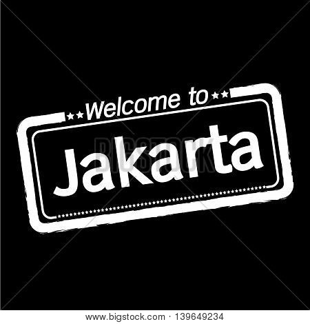 an images of Welcome to Jakarta city illustration design