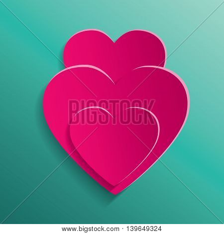 Stylish creative abstract background with red cut paper 3d hearts. Heart for Valentines Day background. Love card for Valentines day.