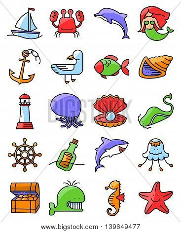 Vector thin and simple line style marine and nautical icons set. Collection with mermaid whale octopus starfish jellyfish seagull fish dolphin seahorse crab lighthouse anchor chest helm