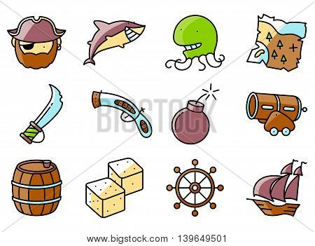 Vector line art minimalistic thin and simple pirate and criminal icons set. Collection illustration of shark helm octopus vintage gun and blade old map rum barrel devil's bones