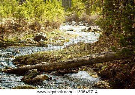 Nature Background With Mountain River