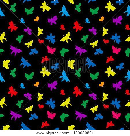flying multicolored butterflies on a black background