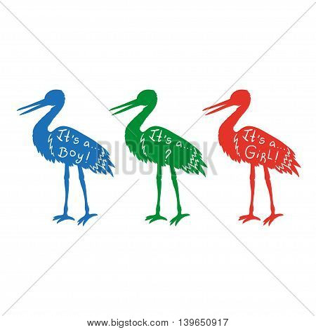 Silhouettes of storks - baby born lettering - girl or boy. Pregnant icons - vector set.