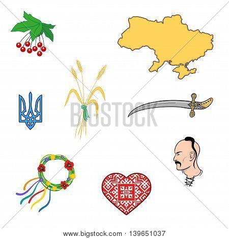 Ukrainian symbols - culture and embroidery icons in hand drawn style. Vector isolated illusration set.