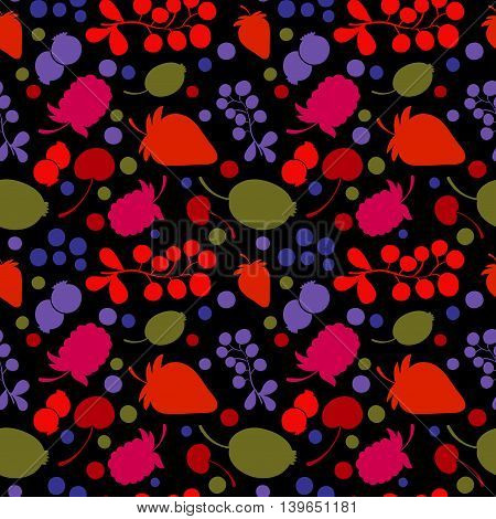 Berries silhouettes - flat style background pattern. Seamless vector design.