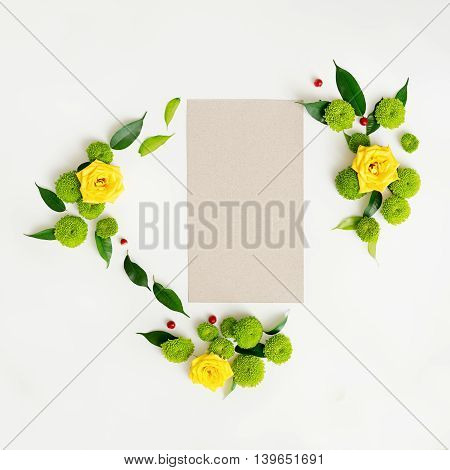 Paper With Wreath Frame From Roses, Chamomile And Chrysanthemum Flowers.