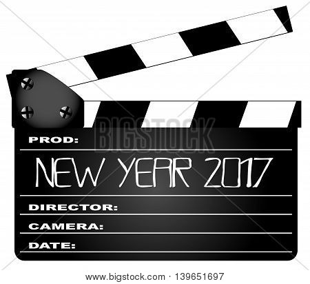 A typical movie clapperboard with the legend New YEar 2017 isolated on white.