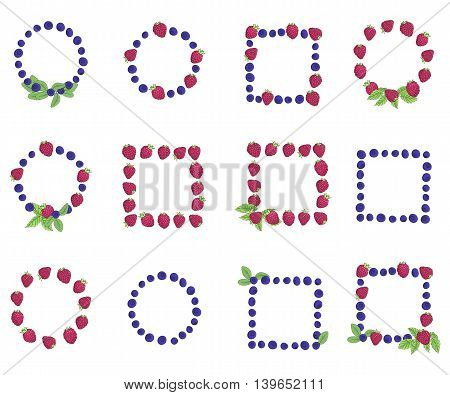 Set of berry frames on a white background. Berries and leaves are painted by hand. All frames are insulated from each other and the background. Vector illustration