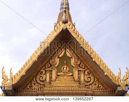 Golden gable chapel of sothon Wararam worawihan temple.