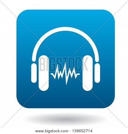 Sound in headphones icon in flat style in blue square. Device symbol