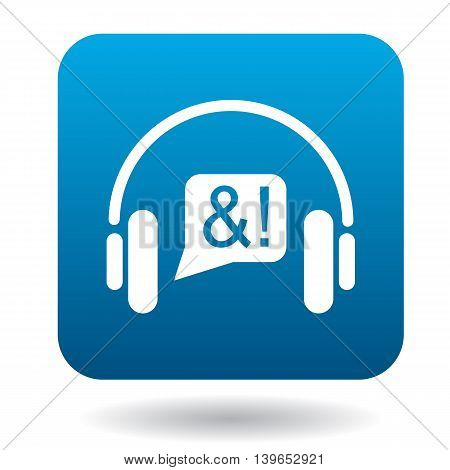 Consultation online by phone icon in flat style in blue square. Device symbol