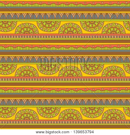 Vector Seamless Pattern with Tribal Motifs / Geometric Ethnic Background