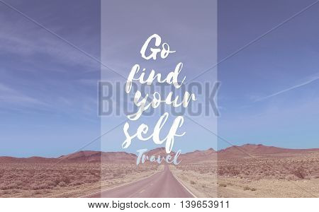 Travel Quote with american highway as background