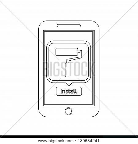 icon of smart phone mobile tool application illustration design