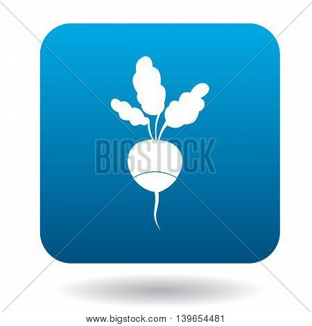 Radish with leaves icon in flat style on a white background