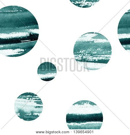 abstract pattern with circles image, filled with watercolor texture blue
