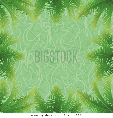 Background, green palm leaves and abstract pattern. Vector