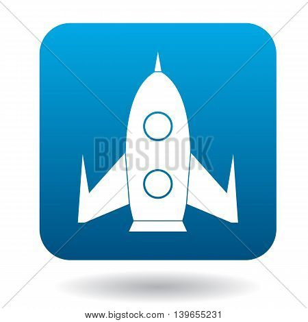 Rocket icon in flat style on a white background