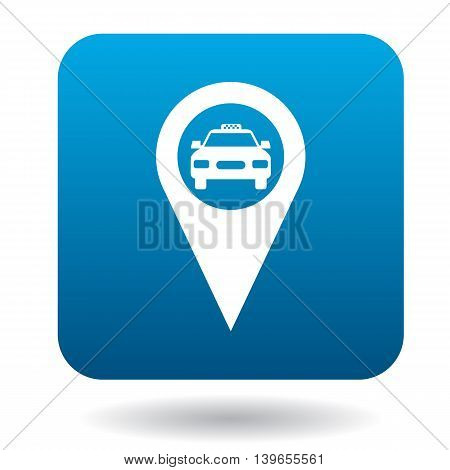 Map pointer with taxi icon in flat style on a white background
