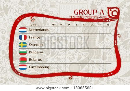 Football qualifiers matches group A table of results layering easy editable vector template