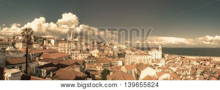 Vintage panoramic image of central Lisbon Portugal
