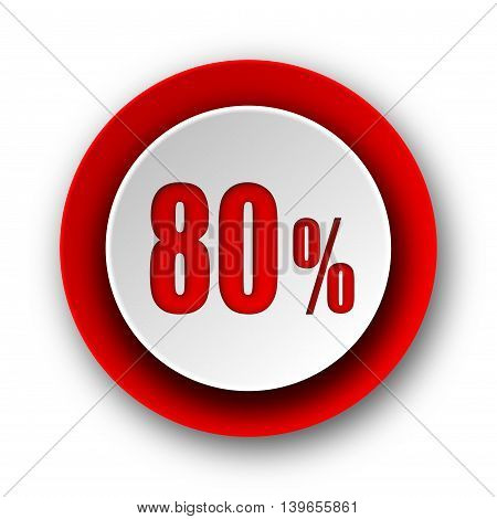 80 Percent Red Modern Web Icon On White Background