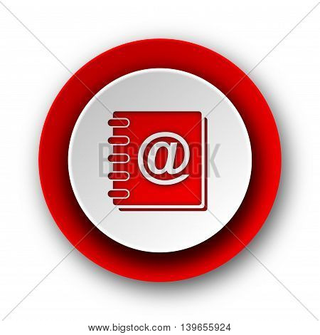 Address Book Red Modern Web Icon On White Background