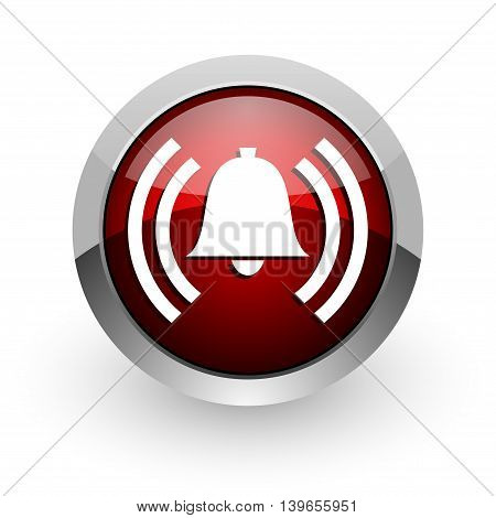 alarm red circle web glossy icon on white background