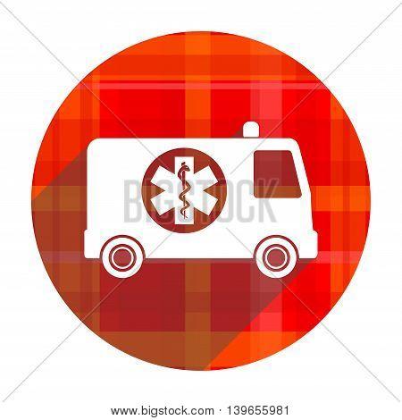 ambulance red flat icon isolated on white background