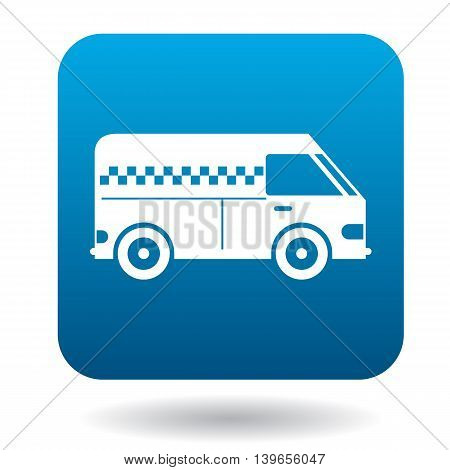 Minibus taxi icon in flat style on a white background