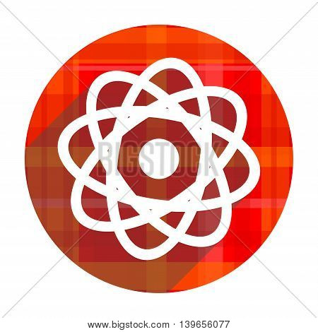 atom red flat icon isolated on white background