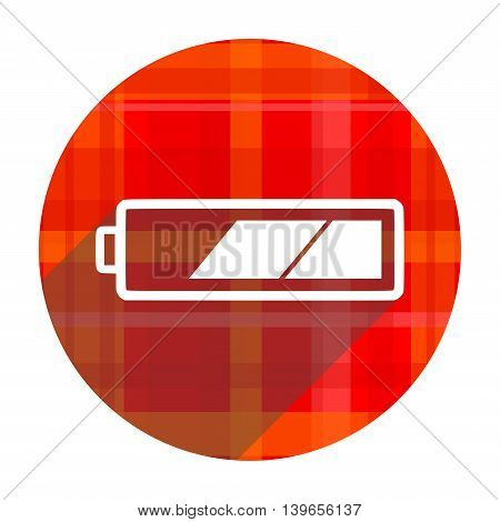 battery red flat icon isolated on white background