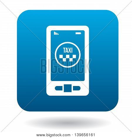 Smartphone with taxi service application icon in flat style on a white background