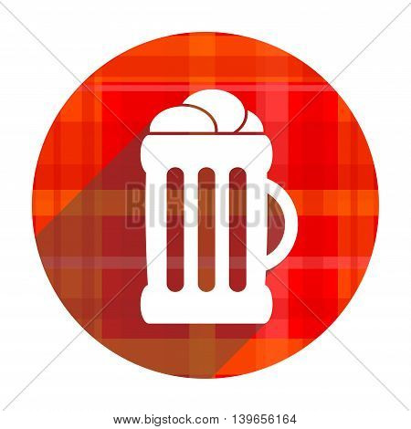 beer red flat icon isolated on white background