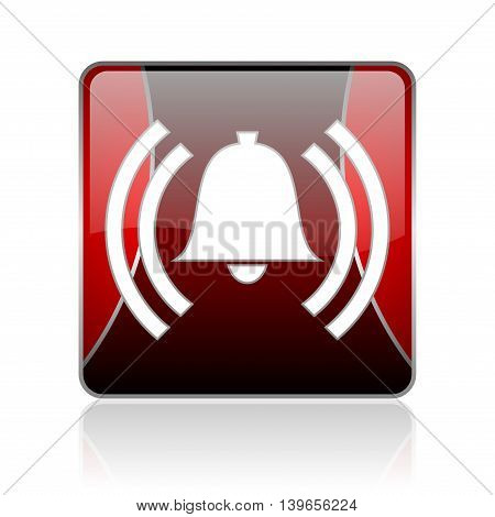 Alarm Red Square Web Glossy Icon