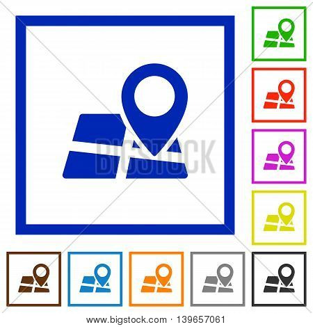 Set of color square framed map location flat icons