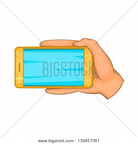 Hand with mobile phone icon in cartoon style isolated on white background. Communication symbol