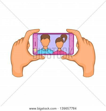 Hands photographed on a cell phone icon in cartoon style isolated on white background. Communication symbol