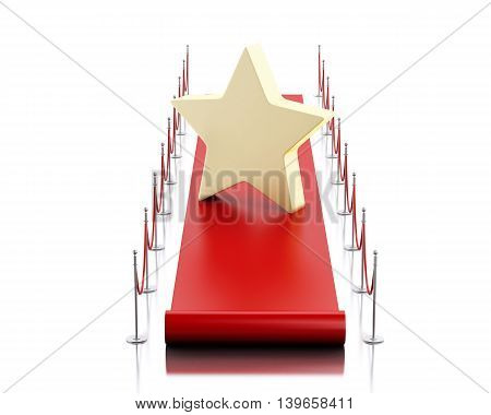 3d renderer image. Empty red carpet with a star. Isolated white background.