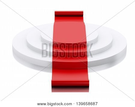 3d renderer image. Empty white podium with red carpet. Success concept. Isolated white background.