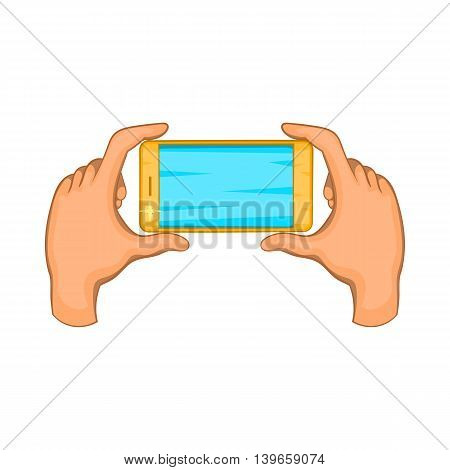 Hands holding cell phone icon in cartoon style isolated on white background. Communication symbol
