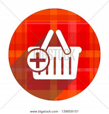 cart red flat icon isolated on white background
