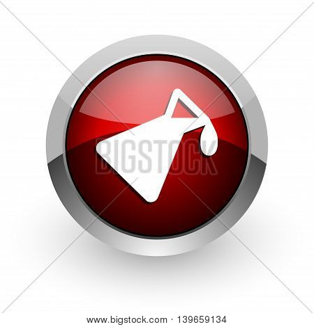 chemistry red circle web glossy icon on white background
