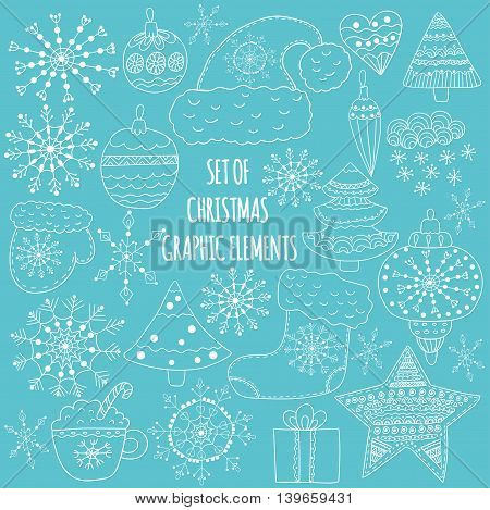 Set of Christmas graphic elements. Snowflakes, ornaments, trees, mittens, drawn in cartoon style.