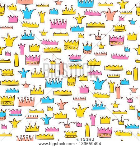 Seamless pattern with cartoon crowns. Vector illustration.