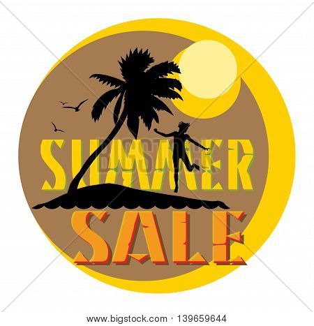 Summer sale abstract label or sticker, vector illustration