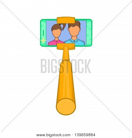 Smartphone photographs on selfie stick icon in cartoon style isolated on white background. Communication symbol